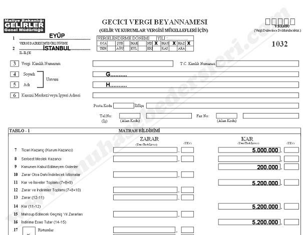 Geçici Vergi Beyannamesini Düzenleme öreneği Anlatımlı çözümlü